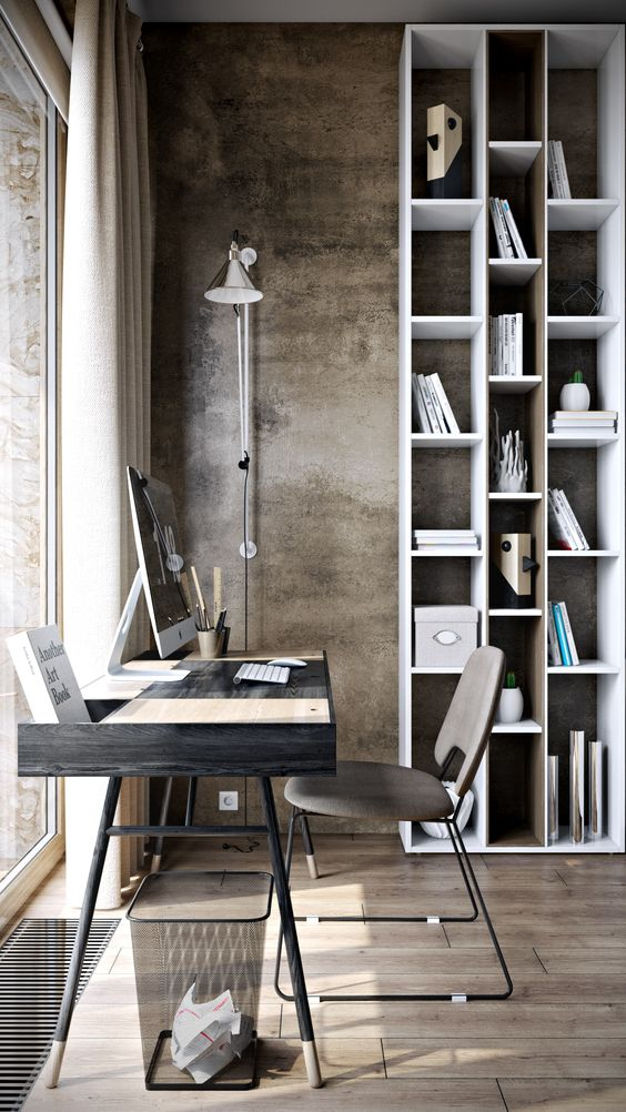 urban industrial home office idea concrete walls wood floors higher vertical bookcase higher floor lamp clean and modern office furniture set