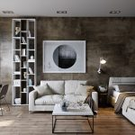 Urban Industrial Open Space Design White Bed Frame With Headboard White Sofa White Top Coffee Table With Tiny Black Metal Legs Scandinavian Style Office Furniture Higher Vertical Bookcase