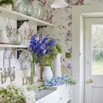 Vintage Kitchen Design Open Shelves In White White Countertop And Cabinets Flower Prints Wallpapers Vintage Ceiling Light Fixtures In White