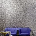 3D Wallcovering In Silver Tone Deep Blue Chairs In Modern Style