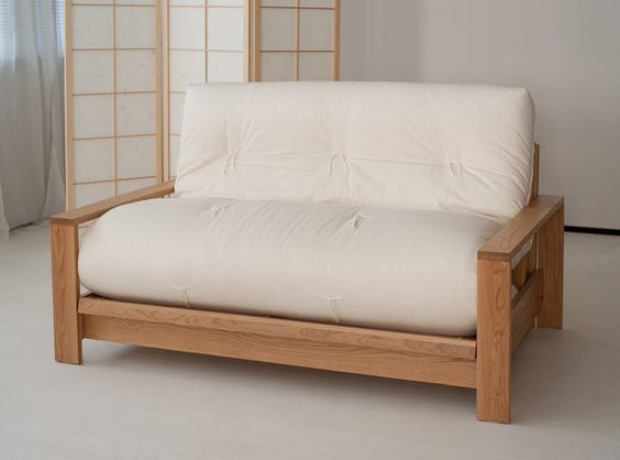 Asian look futon cushion with wood frame