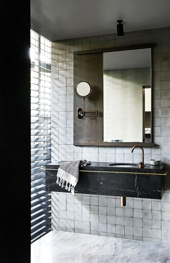 dark toned bathroom shabbier white subway tile walls floating wood bathroom vanity in black undermount sink