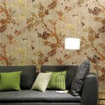 Earthy Wallcovering With Floral Patterns Modern Couch In Gray Green Throws