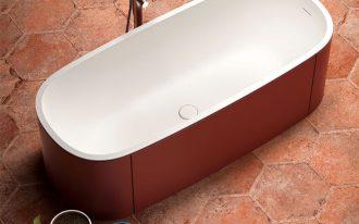hard texture hexagon tile floors freestanding oval bathtub in modern style freestanding shower faucet made of stainless steel