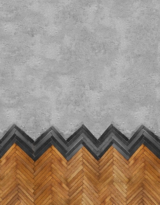 herringbone tile concrete flooring idea in separated installation