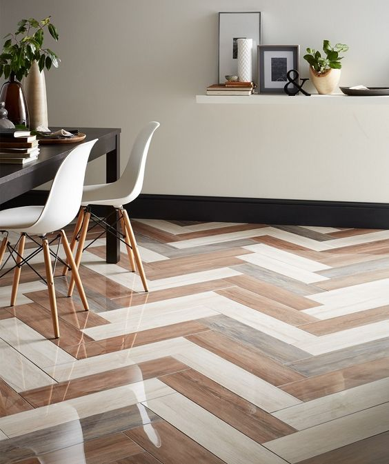 herringbone tiles with Nayara polished and wood effect