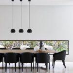 Modern Minimalist Dining Room Modern Pendants In Black Modern Dining Chairs In Black Wood Dining Table Green Wall Decor In Black Frame