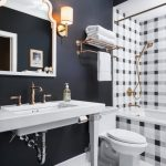 Plaid Tub's Tiling Idea White Toilet Bathroom Sink White Framed Wall Mirror Herringbone Patterned Tile Floors In White Doff Black Wall