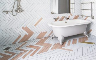 pop of yellow & pink herringbone tiling idea for bathroom bathtub in white