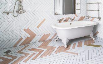 pop of yellow & pink herringbone tiling idea for bathroom bathtub in white