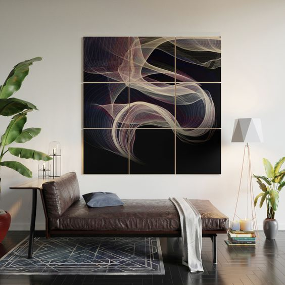 seating area with centered large piece of wall art