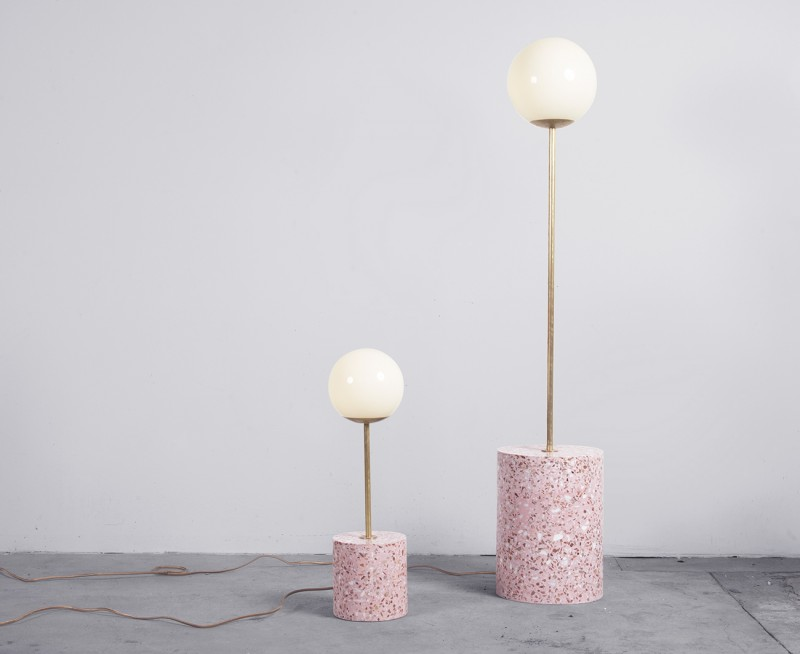 simple terrazzo floor lamp with pink base and gold toned stand