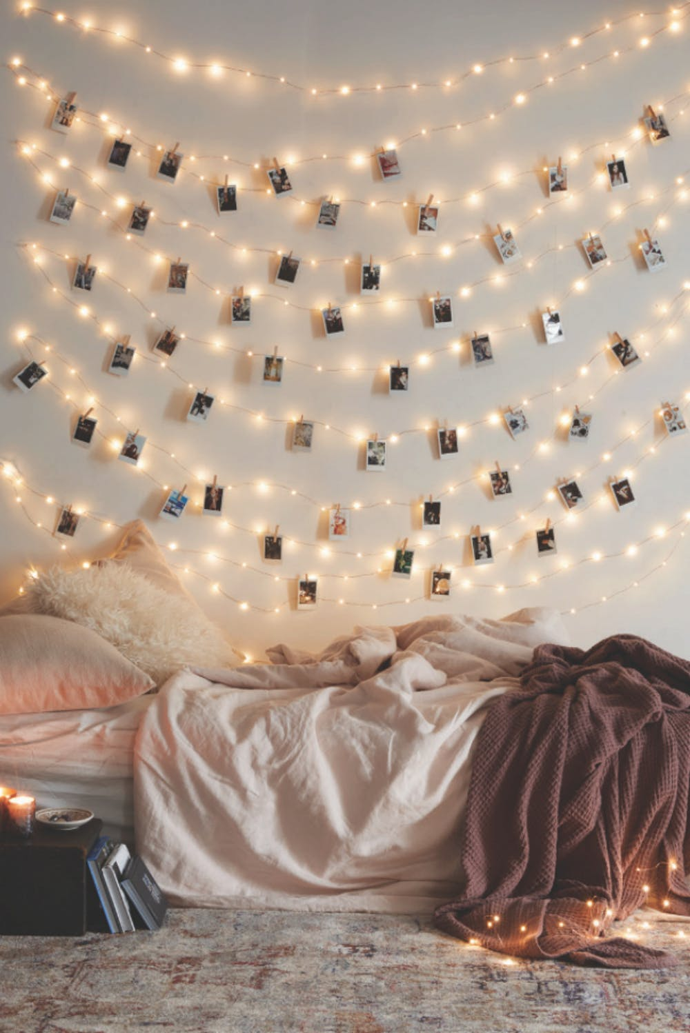 sparkling gallery wall idea inspired by Hygge style soft rumpled bed linens shabby rug