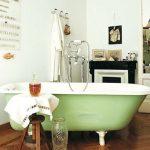 Vintage Style Bathroom Design Vintage Bathtub In Green Wooden Stool Wooden Herringbone Tile Floors
