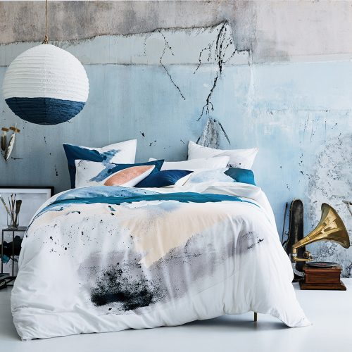 watercolor prints duvet cover in white and blue