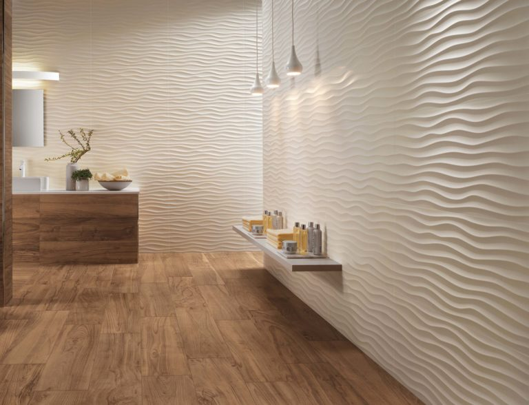 wavy tile walls with texture in white wooden bathroom vanity wall mounted rack modern pendants in white