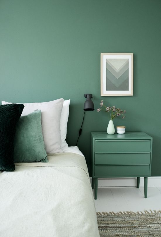 Argyle green wall paint Argyle green bedside table white bedding treatment