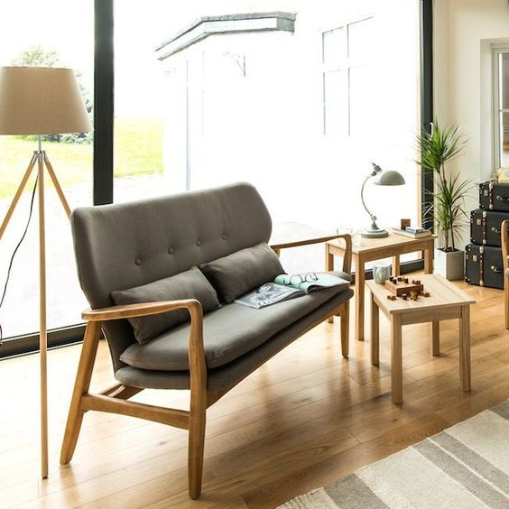 Scandi sofa with wood frame and gray linen fabric upholstery