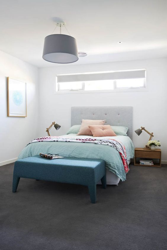 crisp white wall matte gray headboard blue bedding treatment deeper blue bench bed gray pendant in huge size a couple of floor lamps
