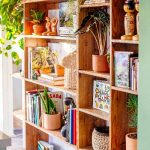 Huge Wood Shelves With Lots Of Colored And Functional Items