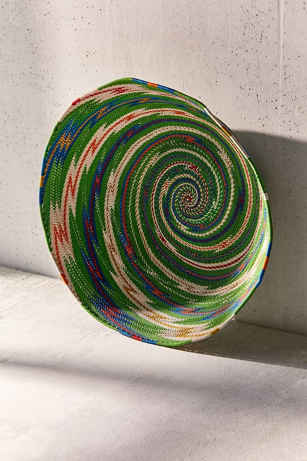 interwoven bowl made of telephone cables