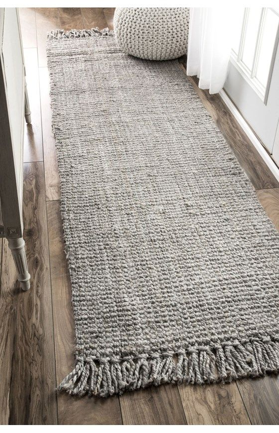 jute runner in shabbier gray