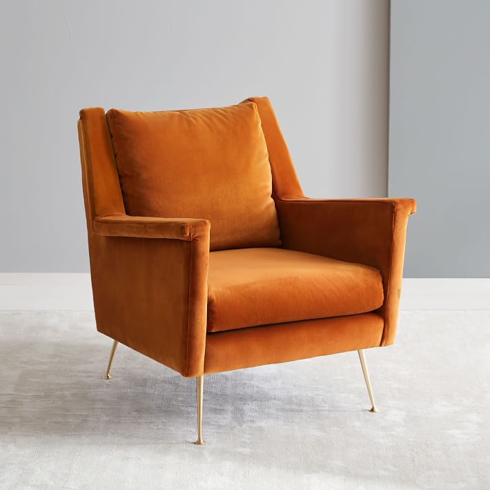 midcentury modern velvet chair in sepia