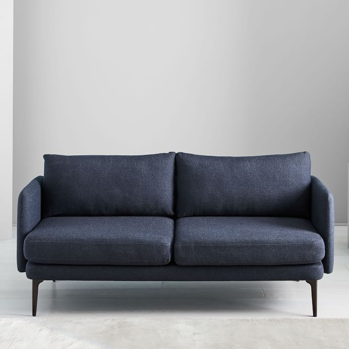 modern and sleek sofa in navy blue