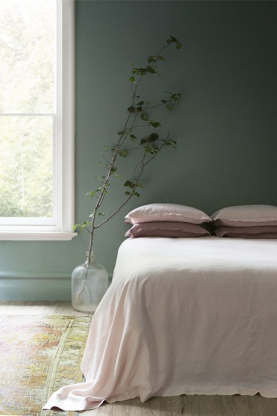 muted green wall houseplant on clear glass pot shabbier area rug white bed linen
