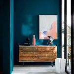 Oceanside Wall Paint Color Large Size Wall Art Mid Century Modern Hall Console Table With Wood Pallete Surface