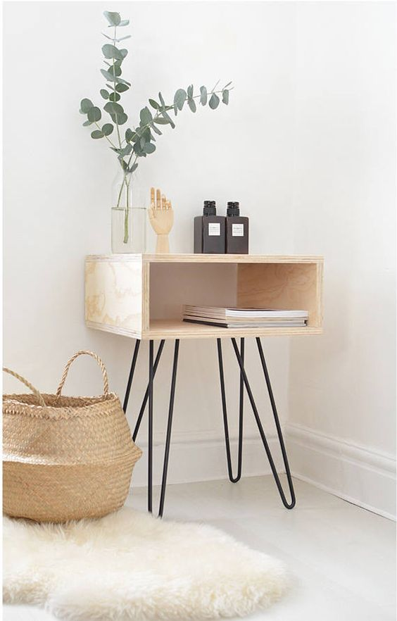 premium wooden bedside table with hairpin legs decorative basket white shag mat j