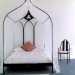 Gothic Inspired Bed Frame With Four Post And Pointed Canopy White Bedding Treatment Multicolored Pillowcase