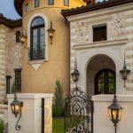 Medieval Exterior Idea Curved Front Door And Windows Wrought Iron Gate Door And Lighting Fixtures