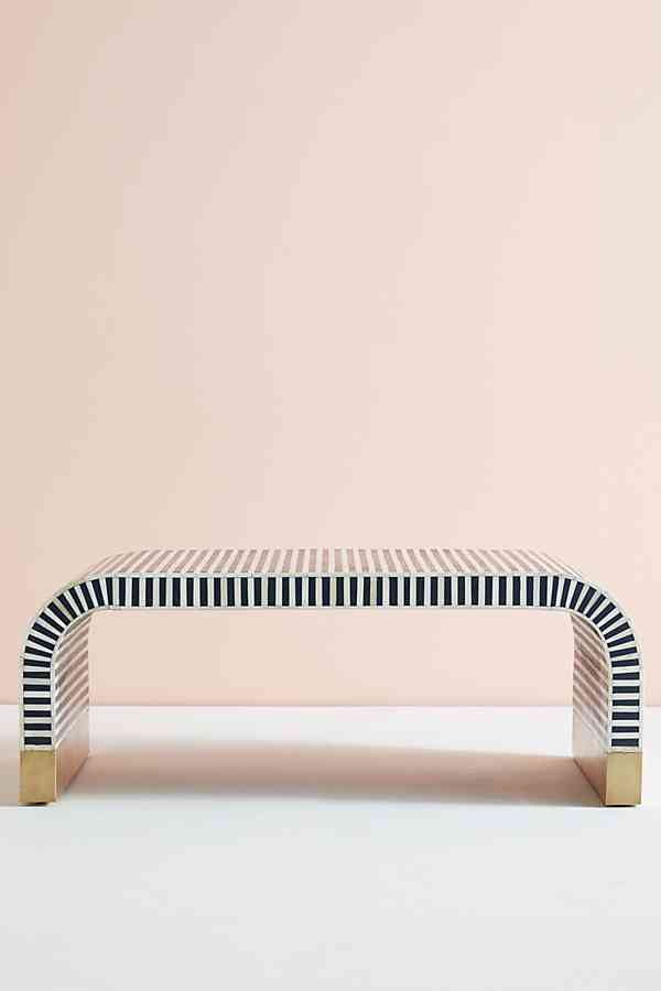 circular shape coffee table in dark blue white color