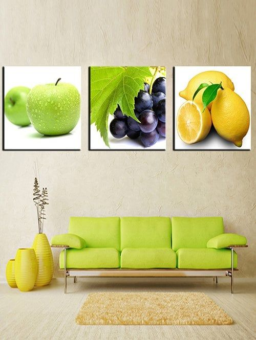 colorful but minimalist living room striking green sofa soft brown area rug bright yellow decorative vases light wood floors real like fruit painting