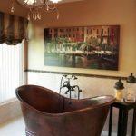 Copper Bathtub Black Wrought Iron Chandelier Artistic Painting