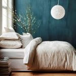 Deep Blue Wall Painting Oversize Orb In White Semi Dried Plant Decoration White Bedding Treatment With Texture
