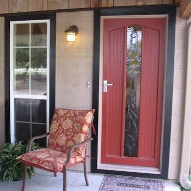 fiberglass front door in red