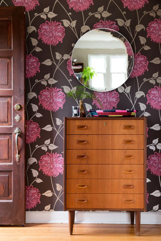flower wallpaper round framed wall mirror wood dresser