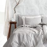 In White Bedroom Idea White Bedding Treatment Midcentury Modern Wood Bedside Table White Potted Decorative Plant