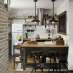 Industrial Kitchen Design Dark Metal Stools Wood Surface Kitchen Island With Sink And Faucet White Subway Tile Backsplash Wood Open Racks With Metal Supports