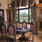 Medieval Dining Furniture Idea Grand Window Curtains With Textural Color Hues