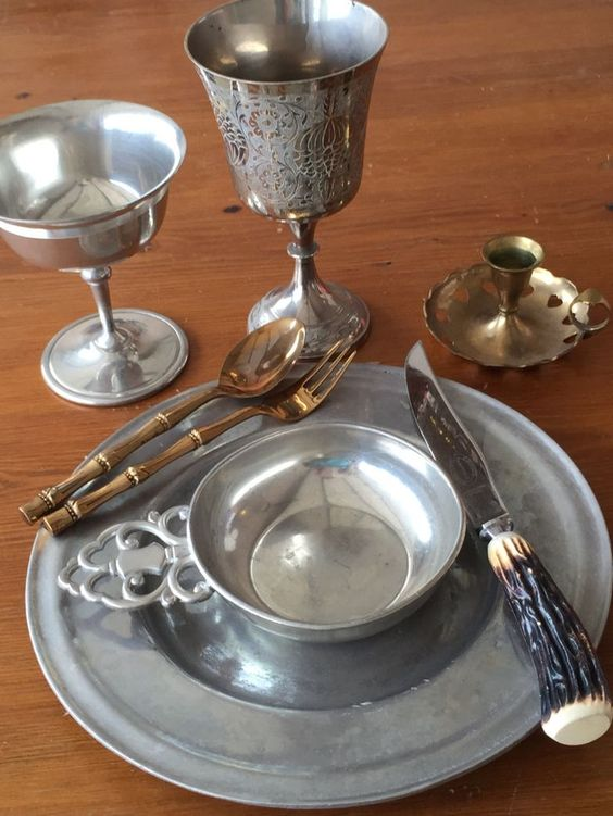 metal feastware in Medieval style