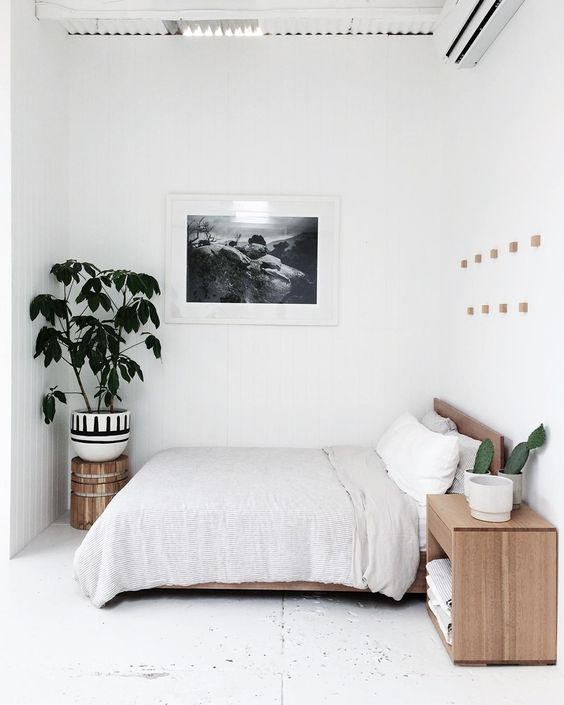 minimalist bedroom design light wood bed frame with headboard light wood bedside table potted houseplant framed picture purely white walls white floors