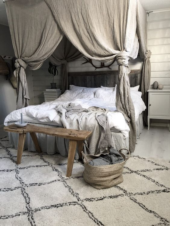 rustic bedroom idea in light gray wood bed frame with headboard and canopy wood bed bench Scandinavian style area rug