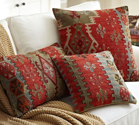 rustic throw pillows in rich neutral color