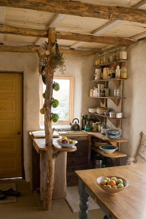 small cabin's kitchen ide with tree cups
