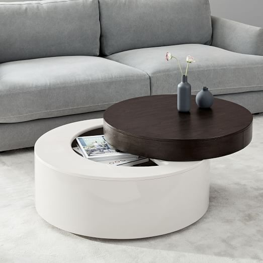 stuck disc like coffee table with storage space inside