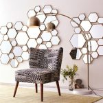 Textural Black Chair In Midcentury Modern Style Modern Floor Lamp Mosaic Of Decorative Mirrors With Brass Frames