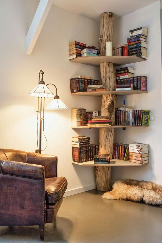 tree bookshelves design leather armchair modern floor lamp